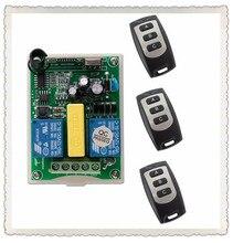 AC 220 В 2 CH РФ Беспроводной Дистанционное управление 1 * приемник + 3 * передатчик трубчатый двери гаража проекционный экран 3 кнопки