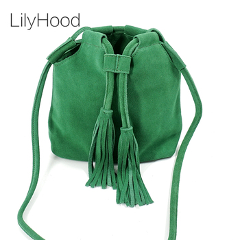 LilyHood 2018 Genuine Leather Small Bucket Shoulder Bag For Women Fashion Leisure Summer Ibiza Suede Fringe Green Crossbody Bag