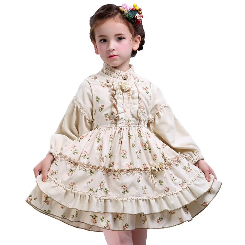 Children`s Clothes Set Autumn Girls Dresses 2pcs Set Floral Baby Cotton Retro Royal Print Dress Long Lantern Sleeve for 3Y-12y