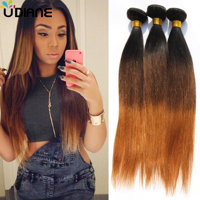3 Tone Straight Ombre Hair Bundles 3pcs Virgin Brazilian Ombre Hair