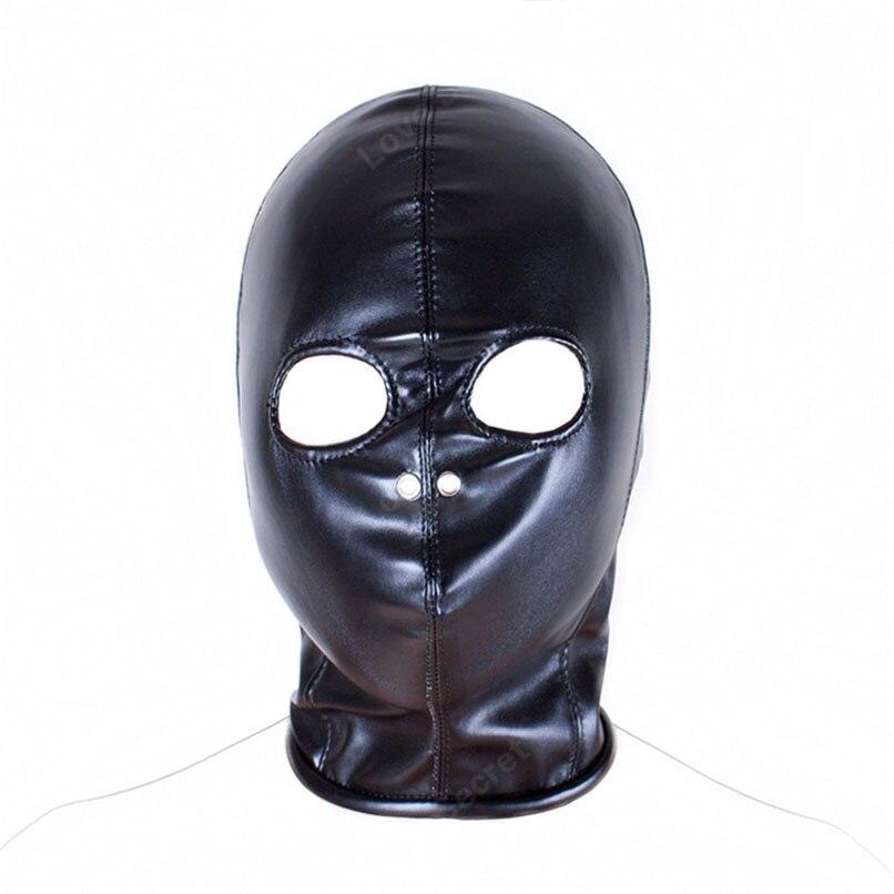 PU Leather Bondage Sex Products Open Eye Mask Fetish Bondage Restraint Slave Mask Hood Sex Toys