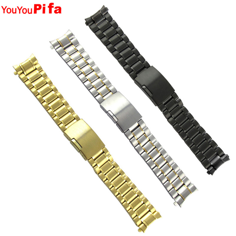 High Quality 18mm 20mm 22mm 24mm Stainless Steel Watch Band Golden Sliver Black Metal Watch Strap Men Women Watchband