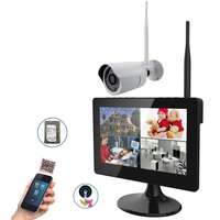 2.4Ghz 4CH Full 720P HD Digital Wireless Home Surveillance IR Wifi Systems 9 Touch Screen Built In HDD Slot & 1x 720P Camera
