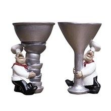 Creative Chef Wine Glass Decorative Candlestick Home Decoration Restaurant Window Decoration Resin Crafts