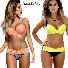 HolaSukey Sexy Print Bikinis 2017 New Bikini Set Plaid Women Swimwear Summer Retro Swimsuit Female Brazilian Bathing Suits BC312