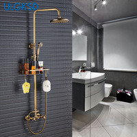 ULGKSD Bathroom Shower Set Antique Brass 8 Rainfall Shower Head Extension Tube Bar Carved Handheld Shower