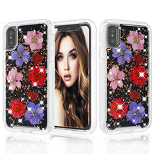 Real Petals inlay Shock proof Case For iPhone XS MAX XR X 8 7 6 6S Plus fashion Full Body protective Clear Soft TPU Flower