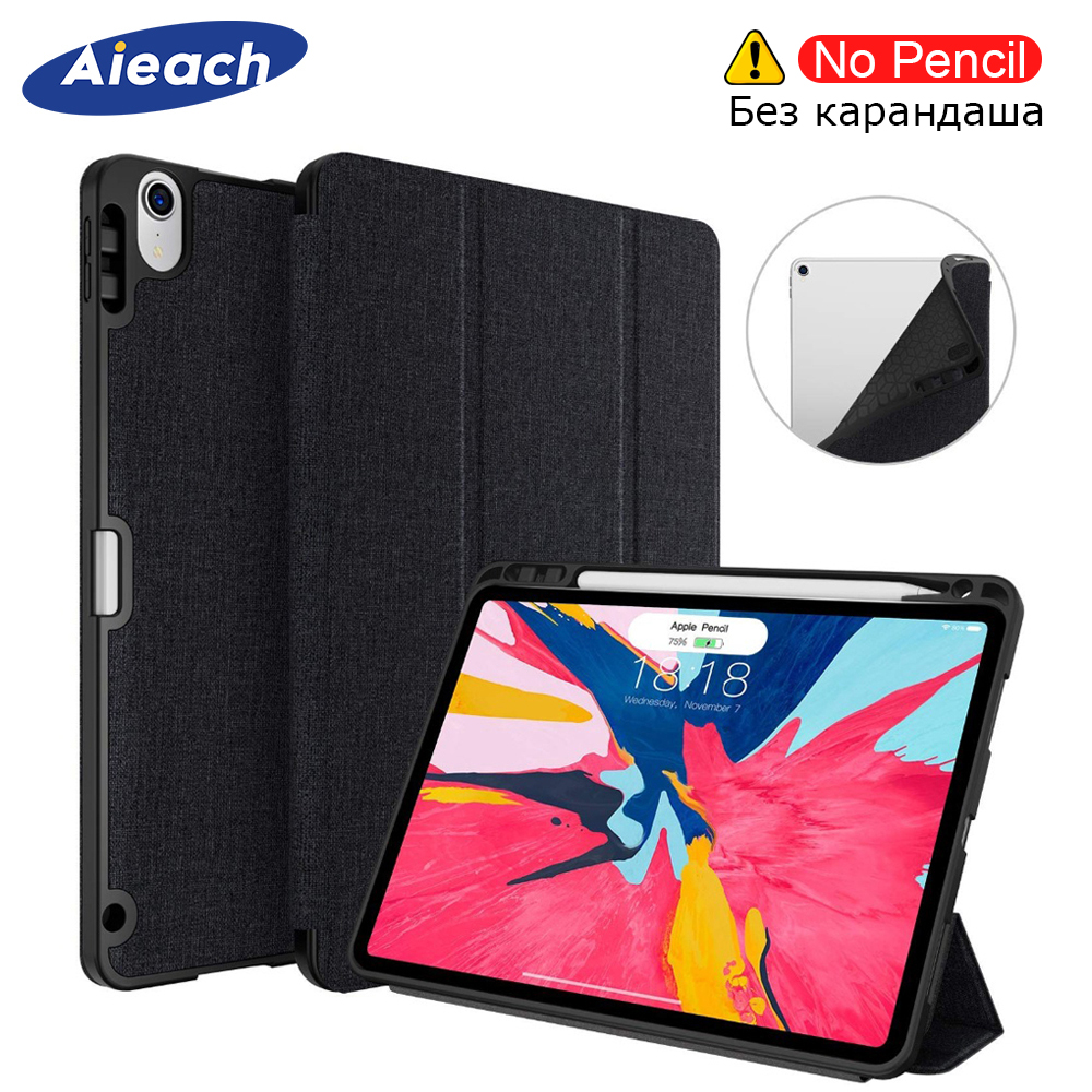 Case For iPad Pro 12.9 2018 With Pencil Holder PU Leather Front Cover Silicone Soft Back