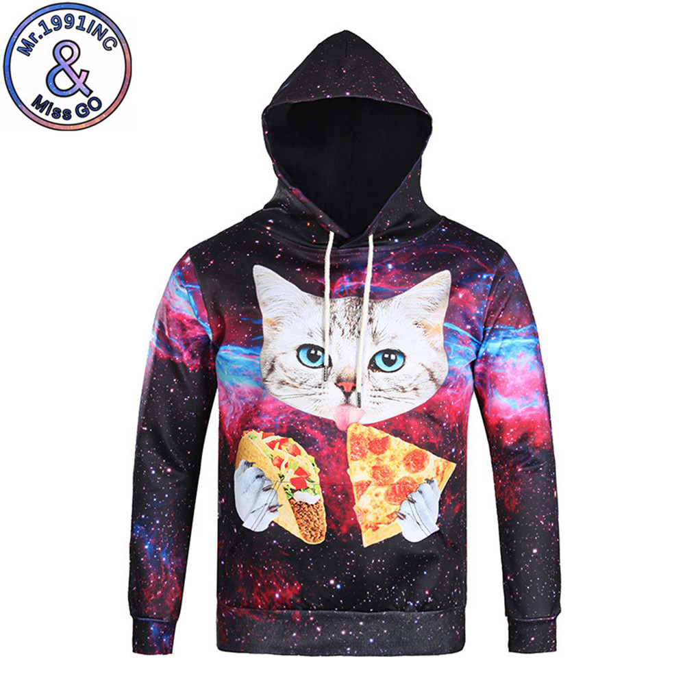 Starry Sky 3D Hoodie Cute Cat Eat Cheese Tracksuit Men Casual Gothic Hip Hop Pullover Creative Male Sweatshirt Sportswear