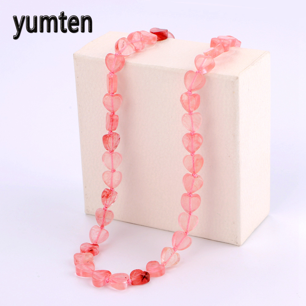Yumten Cherry Quartz Power Necklace Crystal Women Gift Jewelry Natural Stone Joyas Game Throne Collana Bijou Reiki Heal Warface