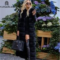 FURSARCAR 2018 New Winter Natural Real Fur Vest Women Luxury Thick Warm Fox Fur Jacket 130cm X Long Fashion Real Fox Fur Coat