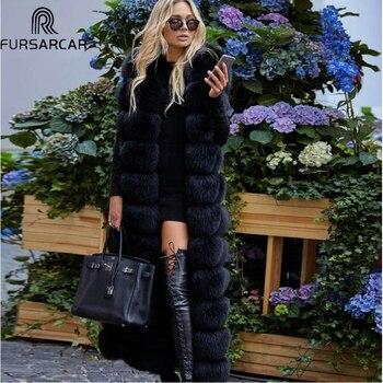 FURSARCAR 2020 New Winter Natural Real Fox Fur Vest Women Luxury Thick Warm Fur Jacket 130cm X-Long Fashion Real Fox Fur Coat new 2019 real fox fur handbag 100