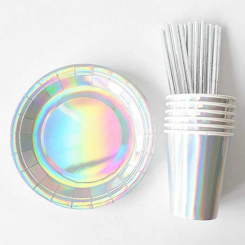 65 pçs/pçs/set folha de ouro copos de papel pratos palhas descartáveis talheres decorações de aniversário do casamento chá de fraldas para crianças meninas meninos