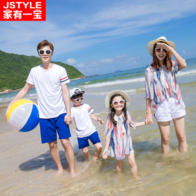 17416ed873 Matching Family Clothing Set Matching Mother Daughter Chiffon Shirt+Shorts  Father Son Cotton T-shirt And Shorts Holiday Beach