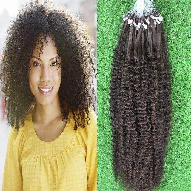 Mongolian Kinky Curly Virgin Micro Bead Extensions Micro Ring Hair