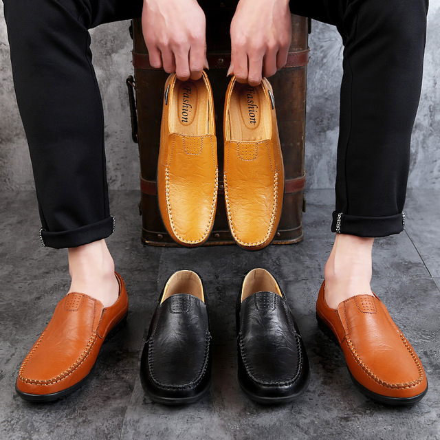 Genuine Leather Moccasin Black Flats Breathable Men's Shoes 5