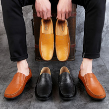 Genuine Leather Mens Moccasin Shoes Black Men Flats Breathable Casual Italian Loafers Comfortable Plus