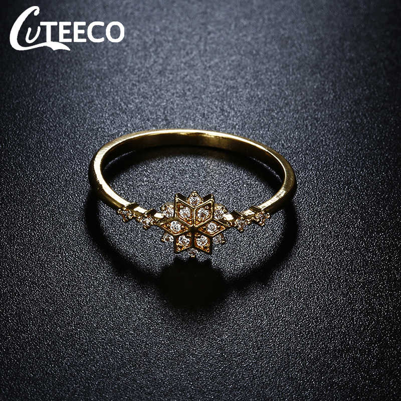 CUTEECO Gold สีเกล็ดหิมะแหวนหญิงฝัง Zircon แหวนสำหรับเครื่องประดับงานแต่งงานของผู้หญิง