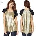 New 2014 Summer T-Shirt Women O-Neck Short Sleeve T Shirt Casual Tops Gold Tees tshirt Women's T shirt 10