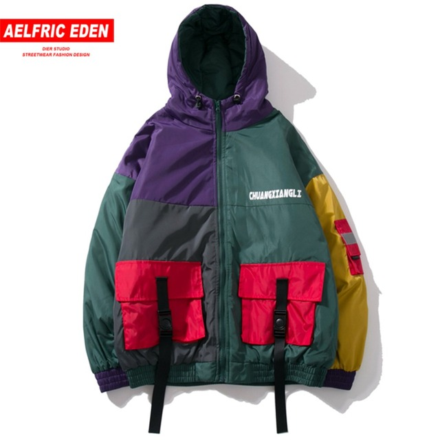 Aelfric Eden 3M Reflective Strip Thick Hooded Jackets Coats Men Winter Buckle Pockets Streetwear Male Warm Hip Hop Jacket KJ287