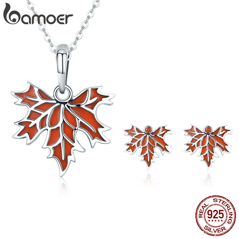 BAMOER Authentic 100% 925 Sterling Silver Autumn Maple Tree Leaves Necklace Earrings Jewelry Set Sterling Silver Jewelry Gift bamoer authentic 925 sterling silver red cz evil and angel pendant necklace earrings jewelry set sterling silver jewelry zh067