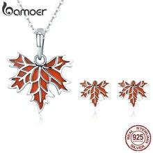 f37b43ce5 BAMOER auténtico 100% Plata de Ley 925 otoño Arce árbol hojas collar  pendientes joyería conjunto plata esterlina joyería regalo