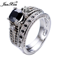 JUNXIN Gorgeous Black Sapphire Crystal Ring Set Promise Engagement Rings For Women Fashion 10KT White Gold Filled Jewelry RW1222