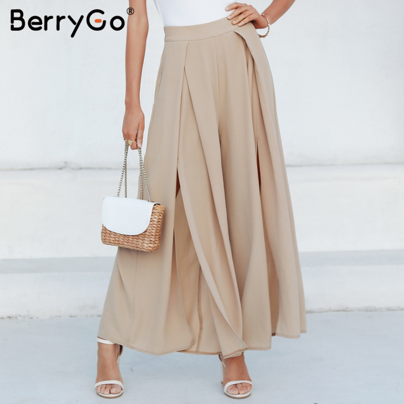 BerryGo Solid women   pants   elegant casual 2019 Long trousers high waist winter   wide     leg     pant   Female palazzo   pants   streetwear