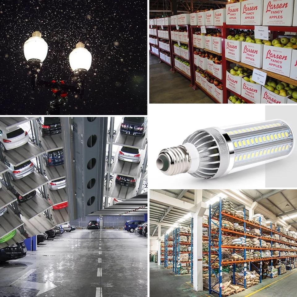 E27 E26 with adapter E39 LED high power bulb SMD5730 fan cooling global universal wide pressure 85 265V corn bulb 177LEDs in LED Bulbs Tubes from Lights Lighting