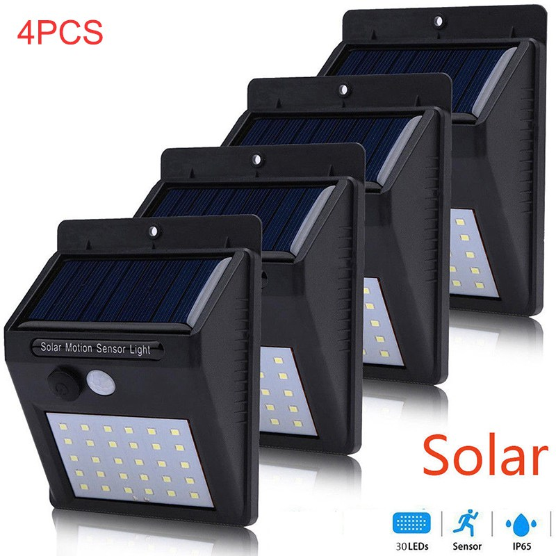 4 Pcs/lot 30 LED Solar Light Bulb Garden Light Outdoor Wall Sense Waterproof IP65 Solar Lamp Wall Lights Lampe Solaire Exterieur Solar lamp