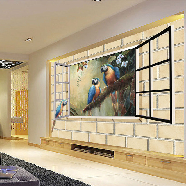 Custom photo 3d brick wall parrot wallpaper mural modern for Custom mural wall covering