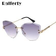 8f8edecf0c Ralferty 2018 Dames Élégantes Lunettes De Soleil Femmes Cat Eye Cristal  lunettes de soleil UV400 Gradient Nuances Sans Monture S..