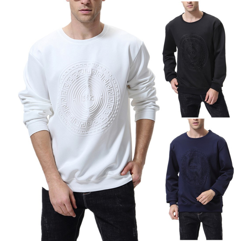 Autumn Winter New Mens Embossed Thin Sweater Round Neck Sleeve Long Sleeve European Size Coat Hoodies Pullover Hoodie Men Casual