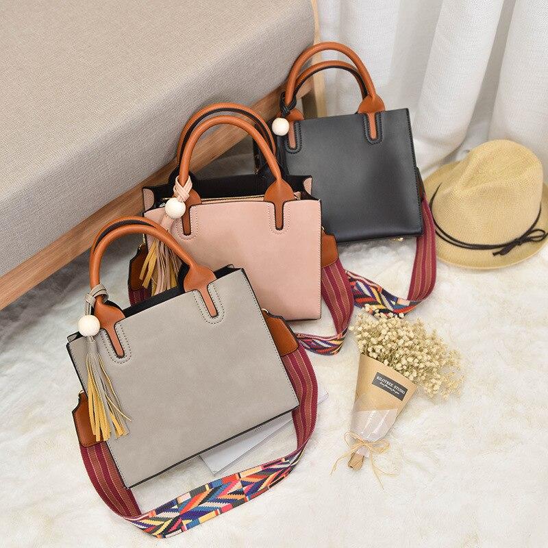 Women bag 2018 Handbag Shoulder Bag Strap Wood beads color fashion womens handbags tassel Tote Bags crossbody square package