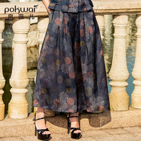 POKWAI Vintage Floral Silk A Line Skirts Women 2018 Spring New Arrival Fashion High Quality Print Ankle Length Skirt