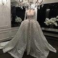 2016 Elegant Lace Bridal Dress Vestido Casamento V-Neckline Appliques Ball Gowns Long Sleeve Muslim Wedding Dress Real Photo