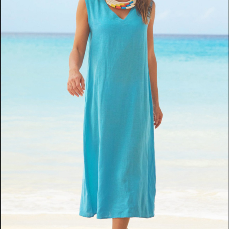 Large size Women 39 s Dress 2019 new hot V neck sleeveless cotton and linen long beach dress in Dresses from Women 39 s Clothing