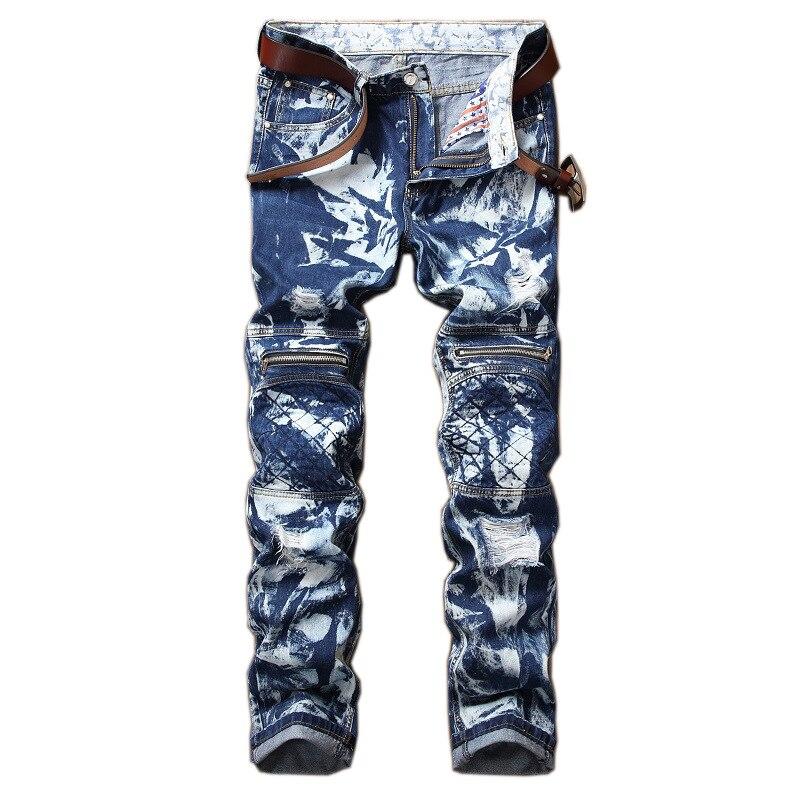 Classic Hip Hop Blue Jeans New 2018 Autum Men Jeans Ripped Biker Hole Denim Patch Harem Straight Punk Rock Trousers