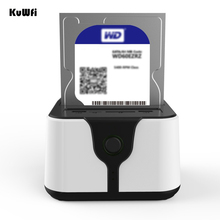 Kuwfi 2.5/three.5″HD Field USB3.zero to SATA Exterior Onerous Drive Docking Case with 300Mbps Wi-fi Router Wifi Repeater APP File Sharing