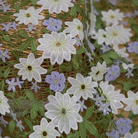 1 yard Multi colored Sequins Venice Lace Fabric Antique Crocheted Floral Lace Bridal Gown Dress Fabric