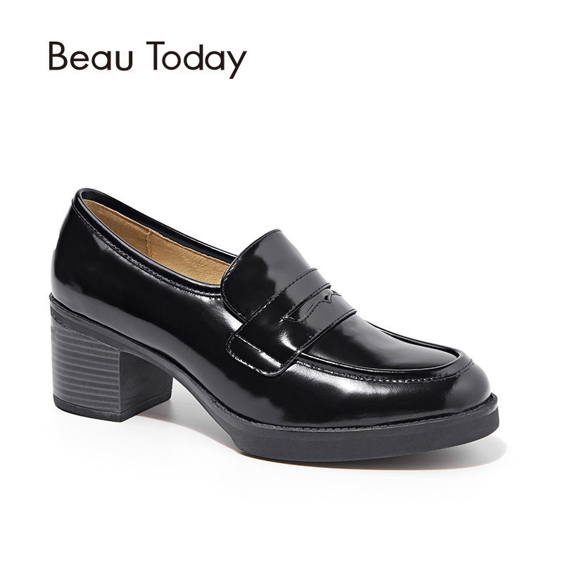 BeauToday Penny Pumps Women Round Toe Slip-On Genuine Cow Leather Spring Autumn New Fashion Ladies Shoes with Box 15118 beautoday genuine leather crystal loafer shoes women round toe slip on casual shoes sheepskin leather flats 27038