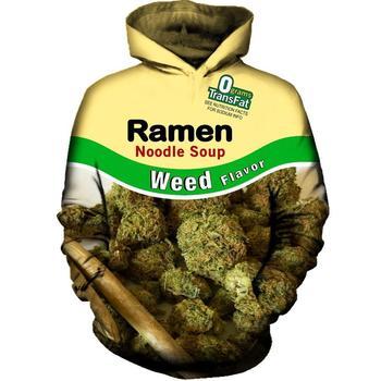 2018 New Fashion Cool Sweatshirt Hoodies Men Women 3D Printed WEED RAMEN NOODLE SOUP HOODIE Tee Hot Style Streetwear Long Sleeve benxsea 3d sweatshirt men women ramen noodle soup print sweatshirt funny pork chicken beef hip hop hooded sweatshirt