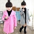 Criança do sexo feminino de lã outerwear espessamento médio-longo com um capuz casaco de outono e inverno criança trincheira de lã