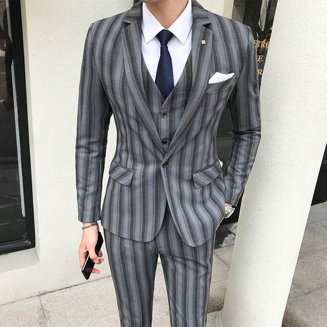 Plus Size Wedding Suits For Mens Striped Terno Masculino Slim Fit Burgundy Suits Mens Business Tuxedo Social Smoking Para Hombre