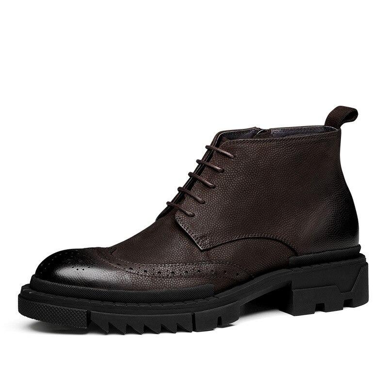 Los Cuero Alta Hombres De Genuino Invierno Moda Piel Zapatos Botas Vaca Martin Retro Encaje 7tqBwU