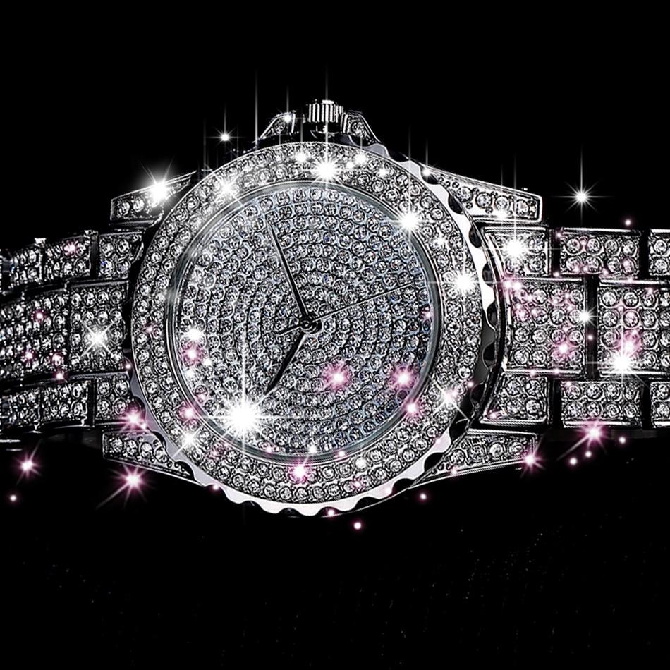 Silver Luxury Women Dress Watch Rhinestone Ceramic Crystal Quartz Watches Magic Women Wrist Watch