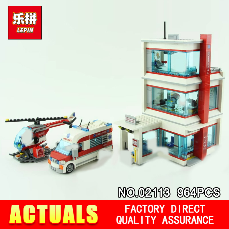 Lepin 02113 964Pcs City Series The 60204 City Hospital Set Building Blocks Bricks Educational Kids Toys As Birthday Gifts Model love monologue fashion jewelry lovely red create coral drop earrings for womens free gift bag j0494