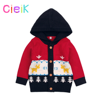CieiK Boys Knitted Sweaters Cardigans Baby Infant Cartoon Coat Newborn Jacket 2018 Spring Toddler Girls Outwear Hood Button Up