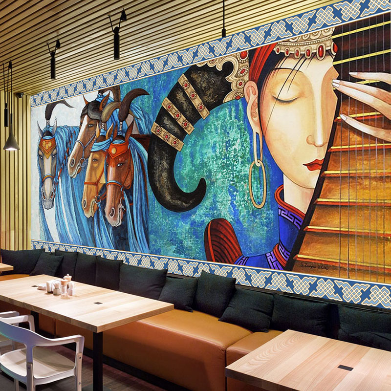 Custom Mural Wallpaper Lute Horses Hand-painted Abstract Art Wall Painting Restaurant Cafe Living Room Hotel Fresco Wall Paper hand painted silk wallpaper painting lotus with birds hand painted wall paper wallcovering many pictures backgrounds optional