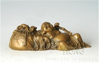 ATLIE BRONZES Bronze Sculpture Pot Bellied Maitreya Laughing Buddha Statue Buddhist Temple Decoration Gifts Goody Bag